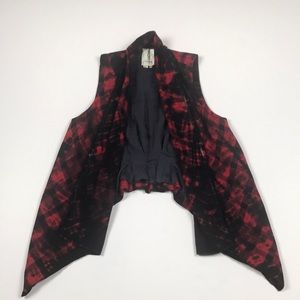 Anthropologie Roxanne Black & Red Plaid Vest.